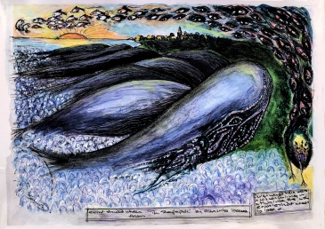 painting of stranded whales, stylised.