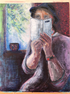 painting of person holding a phone
