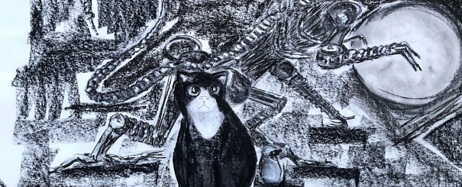 drawing of cat with sculpture of Alien in the background